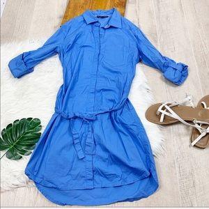Victorias Secret Blue Button Front Tie Dress D1972